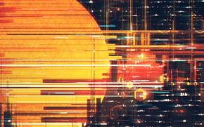 Picture Sunset, The sun, Style, City, Fantasy, Art, Sun, Line, Illustration, Geometric, Illustration, Scott Uminga, by …