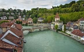Picture bridge, river, Switzerland, Bern