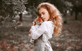 Picture mood, rabbit, friendship, girl, red, friends, redhead, bokeh, hugs