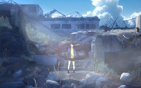 Picture the sky, girl, ruins