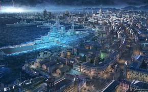 Picture the city, rain, ship, Bay
