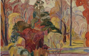 Picture Abraham Manievich, FALL SCENE oil on canvas laid, down on board