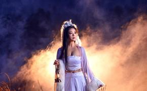 Picture white, look, girl, light, night, fog, smoke, couples, costume, lantern, fur, animal, Asian, twilight, Fox, …