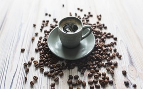 Wallpaper Cup, wood, coffee beans, cup, coffe, espresso, espresso