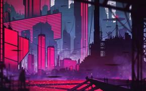 Picture The city, Future, People, Silhouette, Skyscrapers, Architecture, Art, Fiction, Kvacm, by Kvacm, Michal Kváč, by …