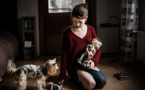 Picture dog, doll, girl, Toys