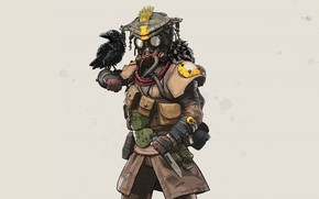Picture bird, the game, mask, grey background, crow, character, Apex Legends