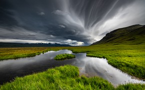 Picture the sky, grass, clouds, mountains, clouds, Iceland