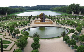 Picture lake, pond, France, panorama, greenhouse, Versailles