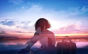 Picture sea, the sky, girl, school uniform, sad