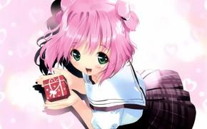 Picture joy, hearts, schoolgirl, art, big eyes, pink eye, sailor, ueda ryou, gift, skirt in a …