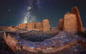 Picture night, stars, USA, ruins, New Mexico, Pueblo Pintado