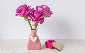 Picture gift, heart, roses, bouquet, vase