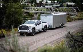 Picture road, bridge, pickup, the trailer, GMC, Sierra, AT4, 2020, Sierra HD