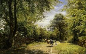 Wallpaper greens, summer, landscape, nature, green, glade, trail, Forest, meadow, birch, Peder mork, THE YOUNG SHEPHERD, ...