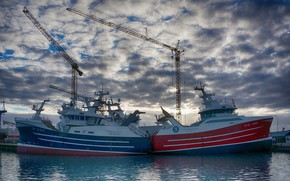 Picture the sky, clouds, pier, port, cranes, fishing vessel, Траулер