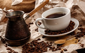 Picture coffee, coffee beans, Turk, Cup and saucer