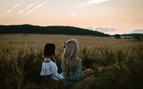 Picture landscape, girls, two, the evening, brunette, blonde, ears, bokeh, sitting, Milana, in the field, Diana, …