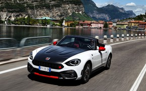 Picture coast, Roadster, spider, black and white, double, Abarth, 2016, 124 Spider