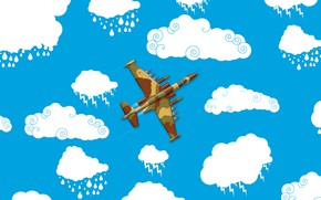 Picture Clouds, Minimalism, The plane, Fighter, Russia, Art, The view from the top, Su 25, Su-25, …