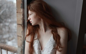 Picture girl, window, freckles, red, Aleks Five