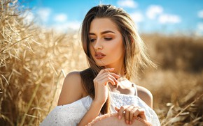 Picture field, summer, girl, nature, hands, makeup
