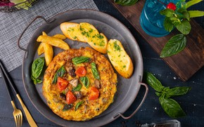 Picture tomatoes, potatoes, Basil, omelette