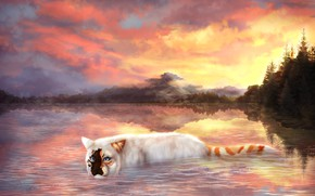 Picture cat, the sky, water, clouds, trees, nature, drawings, Cryptillian