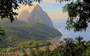 Picture island, mountain, panorama, Caribbean, Saint Lucia