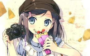 Picture the camera, ice cream, blue eyes, tsukiko tsutsukakushi, Hentai Ouji to Warawanai Neko, Prince of …