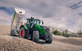 Picture white, the sky, tractor, green, gravel, the trailer, wheel, agricultural machinery, Fendt, Fendt 1050 Vario, …