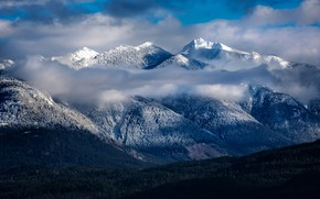 Picture winter, frost, forest, the sky, clouds, light, snow, landscape, mountains, fog, blue, hills, winter, the …