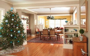 Picture decoration, tree, interior, Christmas, New year, dining room