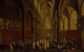 Picture oil, interior, picture, 1636, Peter Nevs, The Dominican Church in Antwerp from the inside, Pieter …