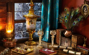 Picture table, books, lamp, feathers, glasses, window, candy, scrolls, Drapes