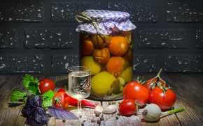Picture light, table, food, Bank, pepper, bricks, vodka, vegetables, tomatoes, tomatoes, glass, spices, garlic, Basil, blank, …