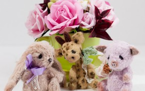 Picture flowers, toys, bouquet, trio