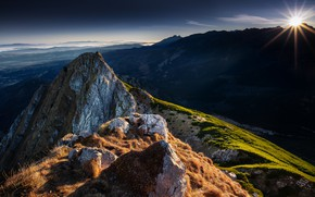 Picture the sun, rays, landscape, mountains, nature, Poland