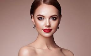 Wallpaper look, background, portrait, earrings, makeup, hairstyle, brown hair, beauty