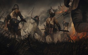 Picture weapons, fire, smoke, battle, flag, warrior, soldiers, Battle
