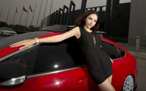 Picture look, Girls, Mazda, Asian, beautiful girl, red car, beautiful dress, posing on the car