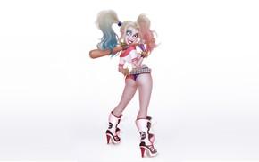 Picture Girl, Minimalism, Figure, Bit, Harley, Background, Comic, Art, Harley Quinn, DC Comics, Harley Quinn, Quinn, …