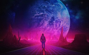 Picture Road, Music, People, Planet, Style, Guy, Style, Neon, Illustration, 80's, Synth, Retrowave, Synthwave, New Retro …