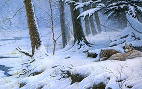 Picture winter, forest, snow, trees, branches, nature, roots, river, shore, figure, picture, art, pair, the snow, …