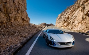 Picture Road, Rocks, Supercar, Rimac, Electric