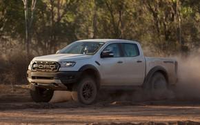 Picture white, movement, Ford, dust, Raptor, pickup, 2018, Ranger