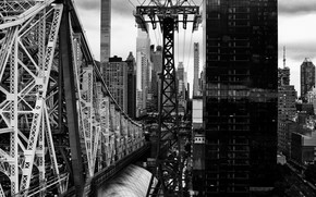 Picture bridge, the city, the building, Long Island