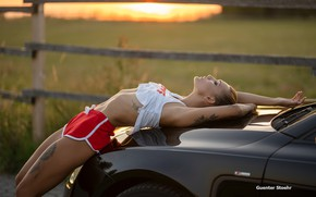 Picture girl, landscape, sunset, pose, model, the fence, shorts, makeup, Mike, figure, tattoo, hairstyle, lies, legs, …