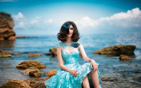 Picture sea, girl, butterfly, photo, dress, Dmitriy Inko, Maryam