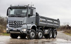 Picture grey, overcast, Mercedes-Benz, 2013, dump truck, Arocs, four-axle